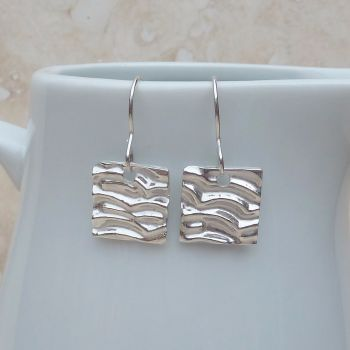 Fine Silver Patterned Square Drop Earrings