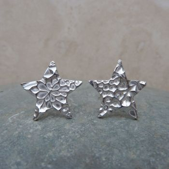Fine Silver Patterned 10mm Star Stud Earrings