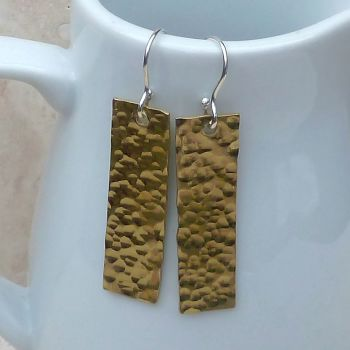 Brass Long Rectangle Earrings