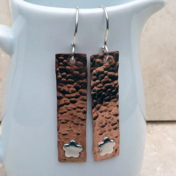 Copper and Silver Flower Earrings