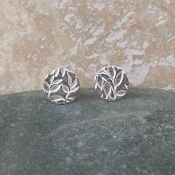 Fine Silver Patterned 10mm Round Stud Earrings