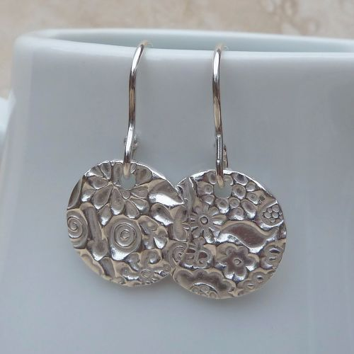 Silver Flower Pattern Disc Earrings