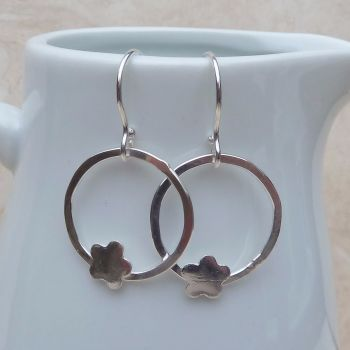 Sterling Silver Flower Hoop Earrings