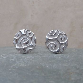 Fine Silver Patterned 8mm Round Stud Earrings