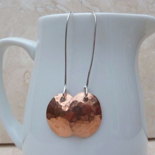 Copper Oval Long Earrings