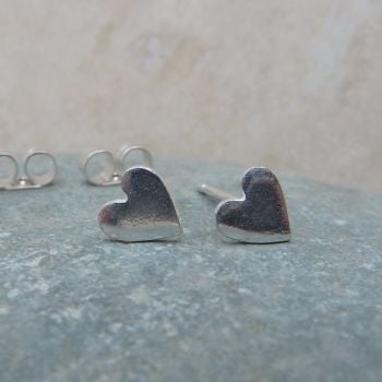 Fine Silver Small 6mm Plain Heart Stud Earrings