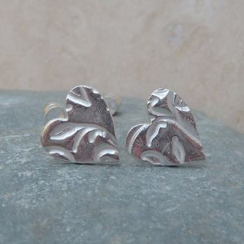 Fine Silver Patterned 10mm Heart Stud Earrings