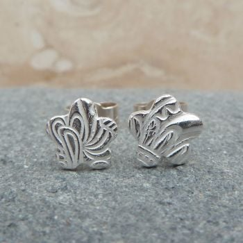 Fine Silver Small 6mm Patterned Flower Stud Earrings
