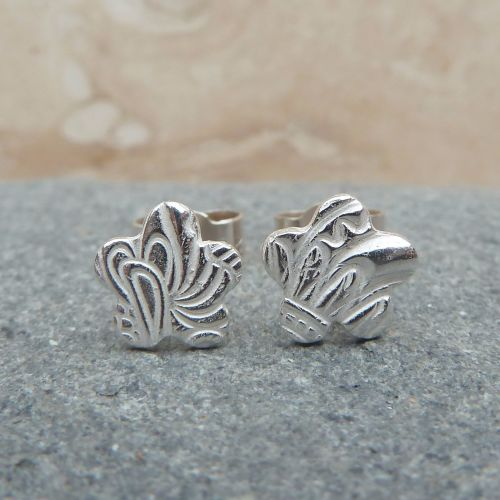 Fine Silver Small Patterned Flower Stud Earrings
