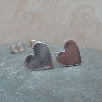 Fine Silver Plain 10mm Heart Stud Earrings