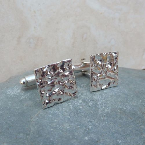 Fine Silver Square Textured Cufflinks