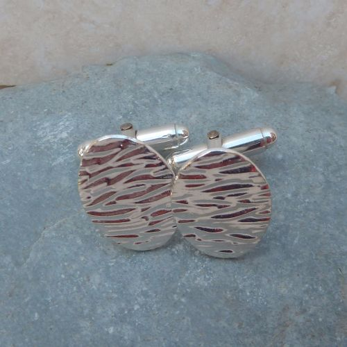 Fine Silver Patterned Oval Cufflinks