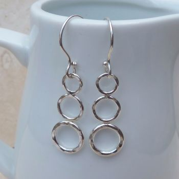 Sterling Silver Three Ring Earrings