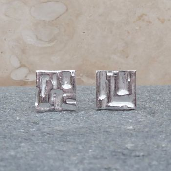Fine Silver Patterned 10mm Square Stud Earrings