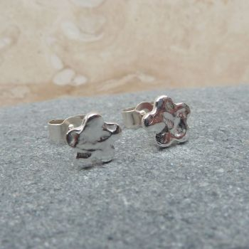Fine Silver Hammered 6mm Flower Stud Earrings