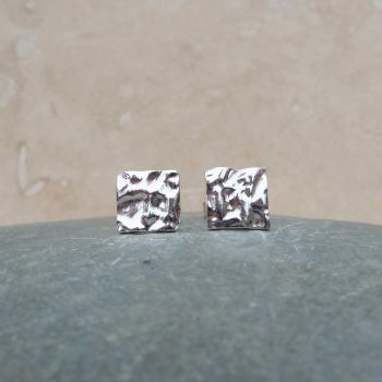 Fine Silver Hammered 10mm Square Stud Earrings