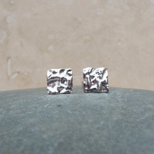 Fine Silver Hammered Square Stud Earrings