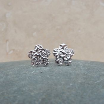 Fine Silver Patterned 10mm Flower Stud Earrings