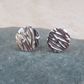 Fine Silver Patterned 10 mm Round Stud Earrings