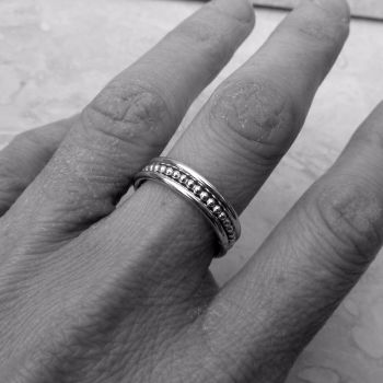 Sterling Silver Beaded Stacker Ring Set - Size P (UK)