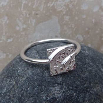 Sterling Silver Square Patterned Ring