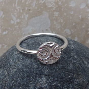 Sterling Silver Round Charm Ring