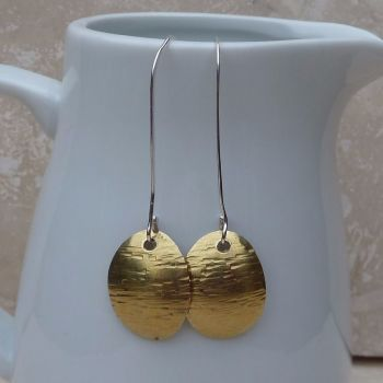 Brass Oval Long Earrings