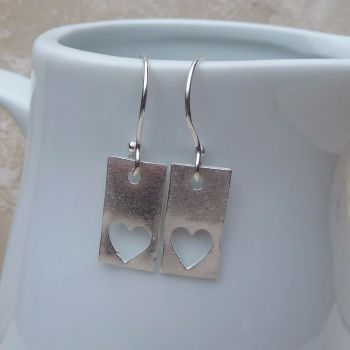 Fine Silver Rectangle & Heart Detail Drop Earrings