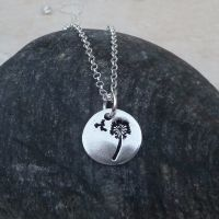 Fine Silver 15 mm Dandelion Wishes Pendant