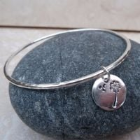 Sterling Silver Dandelion Charm Bangle