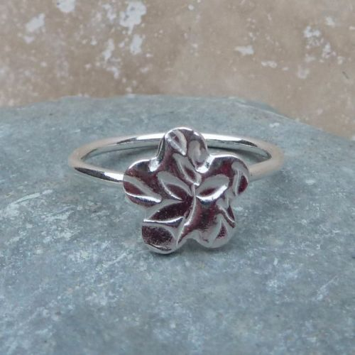 Sterling Silver Flower Charm Ring