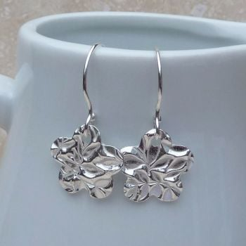 Fine Silver Patterned Flower Drop Earrings