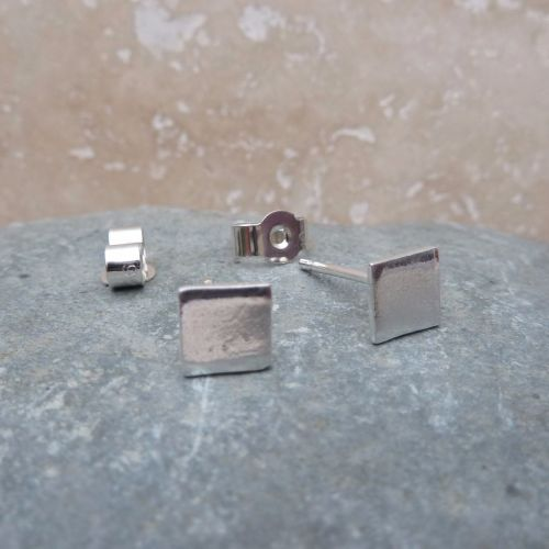 Fine Silver 6mm Square Stud Earrings
