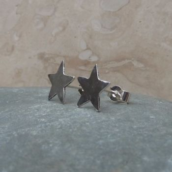 Fine Silver Small 8mm Plain Star Stud Earrings