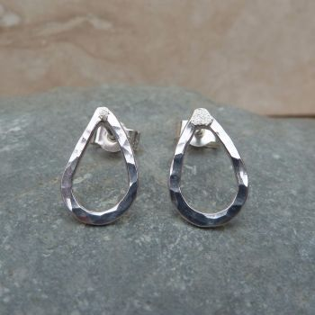 Sterling Silver 10 mm Hammered Tear Drop Stud Earrings