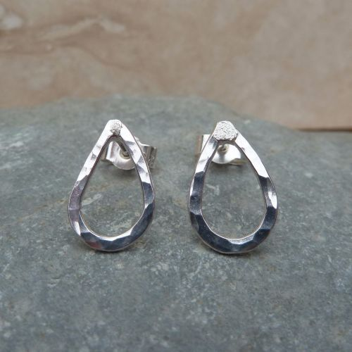 Sterling Silver 12 mm Hammered Tear Drop Stud Earrings