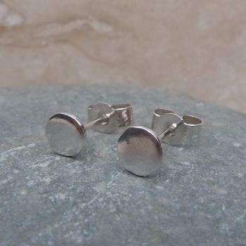 Fine Silver Small 6mm Plain Round Stud Earrings