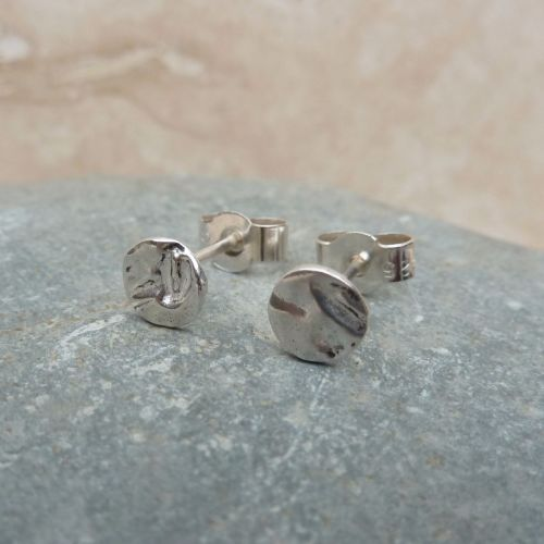 Fine Silver Small 6mm Hammered Round Stud Earrings