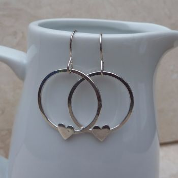 Sterling Silver Heart Hoop Earrings
