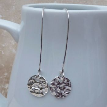 Fine Silver Patterned Round Long Earrings