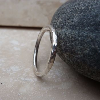 Sterling Silver 2mm Hammered Ring - Made to Order