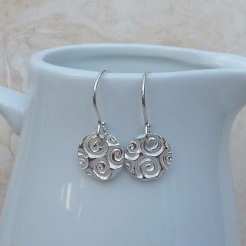 Fine Silver Patterned Disc Drop Earrings