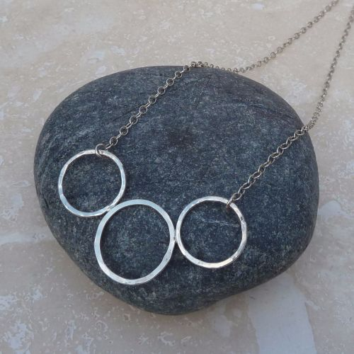 Sterling Silver Three Ring Necklace