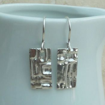 Fine Silver Patterned Rectangle Earrings