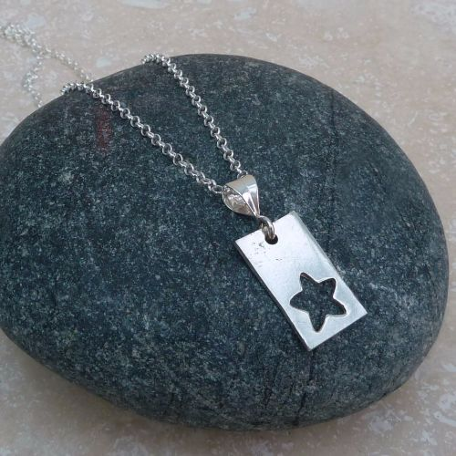 Fine Silver 20 mm Rectangle and Star Pendant