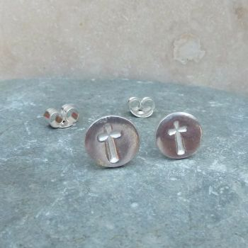 Fine Silver Round 8mm Stamped Cross Stud Earrings