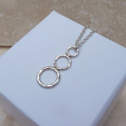 Sterling Silver 3 Ring Drop Pendant