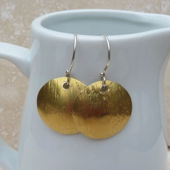 Dapple Hammered Brass Dome Earrings