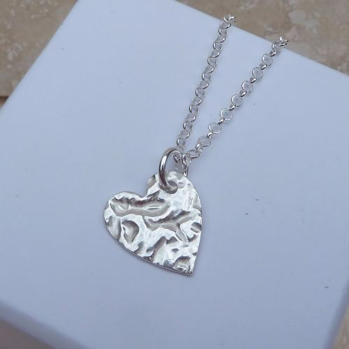 Fine Silver 15 mm Hammered Heart Pendant