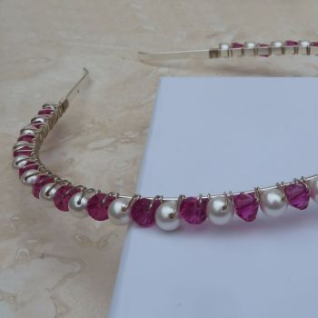 Pink Crystal and Glass Pearl Headband